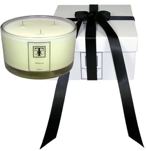 Jasmine White Tea Scented Candle 80 hour Glass Bowl 3 wick